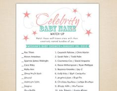 Celebrity Baby Name Game: Test your guests' pop culture savoir faire with a round of Celebrity Baby Name Game ($8 for customized printable PDF). Leave these at each place setting for an easy icebreaker and conversation starter.