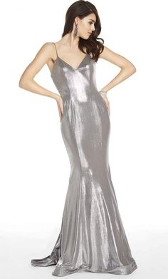 Get noticed in this fantastic dress by Alyce Paris 60585. This metallic jersey dress is tailored with a sleeveless, V-neckline with spaghetti straps. The back has a zipper closure and the skirt forms a mermaid silhouette and finishes in a sweep train. Dare to show off your style in a fashionable dress from Alyce Paris. Prom Dresses Under 100, Prom Dresses Online, Short Dresses, Mermaid Skirt, Trumpet Dress, Perfect Prom Dress, Silver Dress, Two Piece Dress