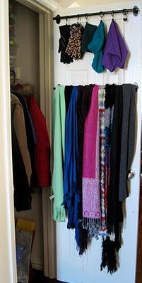 Organize your closet quickly and simply: Use IKEA's Fintorp rails (under ten buxxx) and some J.C. Penney drapery rings to store gloves, hats, scarves and whatever in one handy place.  Fintorp. Fintorp. i just like saying Fintorp.