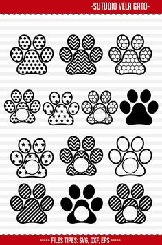 12 PAW Print sgv eps dxf Cut Files Monogram by studiovelasantos