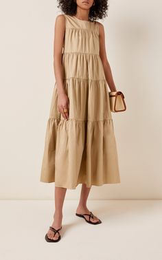 Tiered Cotton Dress by Co | Moda Operandi Tiered Dress, Cotton Dresses, Linen Dresses, Warm Weather, Dress Outfits, Midi Skirt, Summer Outfits, Clothes For Women, My Style