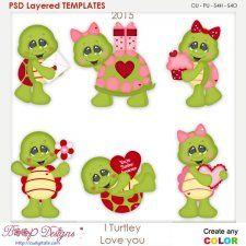 I Turtley Love You Turtles Layered Element Templates cudigitals.com clipart template cu commercial scrap scrapbook digital graphics #cu #scrapbooking #photoshop #digiscrap
