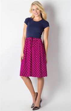 This is a great fun and casual dress.  The top is tee and the bottom is dressed up.  It is super cute and fun to wear in both color combinations and it goes great with one of the new essential cardis.