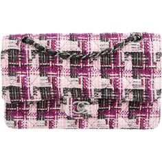 Pre-owned Chanel Medium Classic Tweed Double Flap Bag ($1,725) ❤ liked on Polyvore featuring bags, handbags, pink, quilted handbags, chanel purse, colorful purses, colorful handbags and quilted hand bags