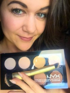 NYX Contour & Highlight Palette with the STILLA Custom Contour Double-Ended Brush... review at MsLindsayM.com now. #bblogger