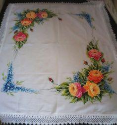 pintura em tecido toalha de mesa rosas