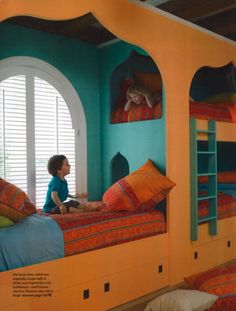 Mary Evelyn McKee's Moroccan take on a bunk room.  Great colors!
