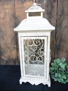 Large Ornate Metal Lantern ~ Creamy White Gold Distressed Accents  Tealight Pillar Candle Holder ~ Wedding Holiday Centerpiece Elegant Decor