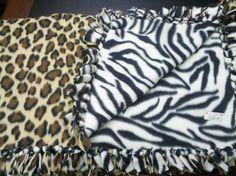 Zebra and Cheetah HandTied Fleece Blanket