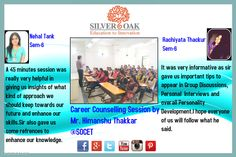 Career Counselling Session for the Students of Sem-6 of Electronics and Communication Engineering at silver oak college of engineering. They were addressed by Mr. Himanshu Thakkar. He guided them as to how the students must prepare for Group Discussions ,Personal Interviews and also talked about the overall Personality Development of a Student.