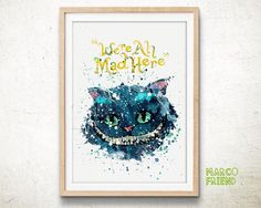Cheshire Cat, Alice in Wonderland - Watercolor, Art Print, Home Wall decor, Watercolor Print, Disney Princess Poster