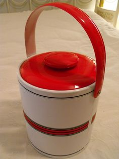 **SOLD!** VTG GEORGES BRIARD RED WHITE BLACK ICE BUCKET MCM MID CENTURY MODERN ~EAMES ERA