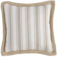 Serge Stripe Jute Trim Pillow - Stone