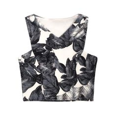 V Neck Cropped Top In Leaf Print (€26) ❤ liked on Polyvore featuring tops, crop tops, crop, tanks, v neck tank top, crop tank top, v-neck tops, crop top and vneck tops