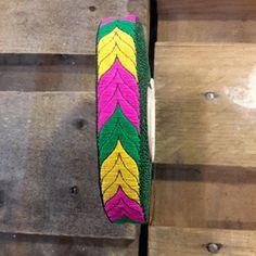 ethnic ribbon of 20mmm in lemon yellow, fuschia and green