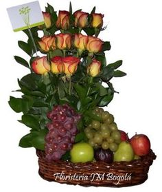 Fresh Fruit Arrangement with Roses. Tropical Wedding Bouquets, Floral Bouquets, Valentine Decorations, Flower Decorations, Modern Floral Design, Fruit Flowers, Get Well Gifts, Fruit Displays, Chocolate Bouquet