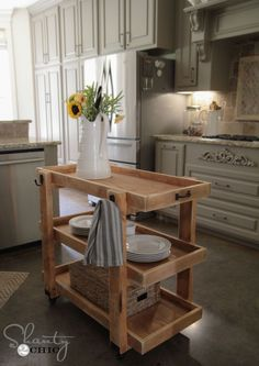 LOVE this DIY Rolling Cart Island! And you can learn how to build it at Home Depot!