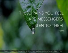 """Open Door Therapy is the focused counseling practice of Terri DiMatteo, LPC with an exclusive focus on counseling and recovery. """"These pains you feel are messengers. Listen to them. Sufi Quotes, Spiritual Quotes, Me Quotes, Famous Quotes, Rumi Love, Life Lessons, Decir No, Quotations, Therapy"""