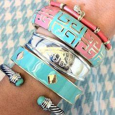 Spring colors hued stacked bracelets.