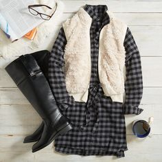 Curl up in a shirtdress & cozy vest with a cup of tea. How are you unwinding this weekend? **like dress & boots shown & idea of vest but not a furry one. Not into that look, much prefer quilted** Stitch Fix Fall, Stitch Fit, Looks Style, Style Me, Fall Outfits, Cute Outfits, Casual Outfits, Dresser, Stitch Fix Outfits
