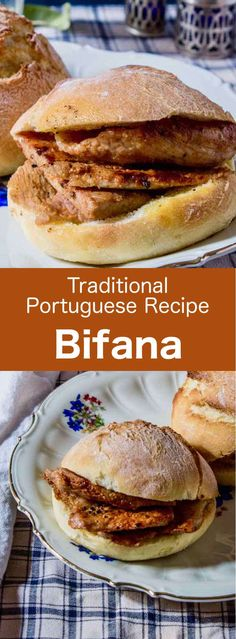 Portugal: Bifana Portugal: Bifana Bifana is a delicious small traditional Portuguese sandwich. It is prepared with papo seco (Portuguese bread roll) and marinated pork cutlets, on which the cooking juices are drizzled. Pork Cutlet Recipes, Cutlets Recipes, Pork Recipes, Cooking Recipes, Portuguese Bread, Portuguese Desserts, Portuguese Recipes, Sandwich Au Porc, Best Sandwich