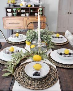 See how I created this Summer Tablescape Modern Farmhouse Table, Farmhouse Decor, Lemon Centerpieces, Lemon Kitchen, Spring Home Decor, Dining Room Table, Interior Design Living Room, Kitchen Decor, Kitchen Dinning