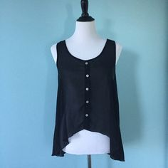 Black Sheer Tank Sheer black button-up tank, size medium, very light and flowy and comfortable, no stretch, not forever 21, just listing it as such for exposure Forever 21 Tops Tank Tops