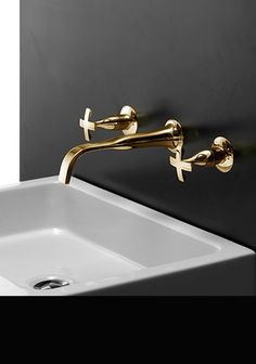 Beautiful collection of gold bathroom taps including contemporary basin taps, bath taps and shower accessories. Basin, Laundry In Bathroom, Bath Taps, Wall Mounted Basins, Gold Taps, Gold Walls, Gold Faucet, Beautiful Bathrooms, Bathroom Sanitary