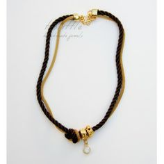 Brown Satin Rope & Mesh Necklace #rope necklace