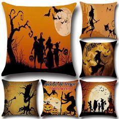 Halloween Dark Witch Pattern Pillowcase Cotton Linen Throw Pillow Cushion Cover Seat Home Decoration Sofa Decor