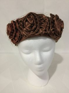 Vintage 1960s Mocha Brown Satin Rose Veiled by SweetGingerVintage
