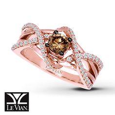 Chocolate Diamond Ring 3/4 ct tw Round-Cut 14K Strawberry Gold®