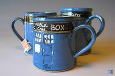 Tardis Mug Pottery Mug Handmade Doctor Who by DragonflyArts great idea for Christmas gifts! for a few Dr. Who nuts we know!
