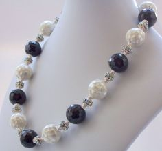 Gemstone Necklace, Shell Necklace, Mother of Pearl Necklace, Black Onyx, White, Silver Jewelry, Jewellery, Mosaic, Statement Necklace