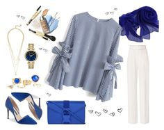 """""""Blue&White"""" by albat0ul ❤ liked on Polyvore featuring 10 Crosby Derek Lam, Christopher Kane, Chicwish, BaubleBar and Karl Lagerfeld"""