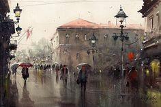 Below the lamps in Knezu, watercolor, 35x53 cm, by Dusan Djukaric, watercolor artist