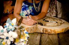 Wood slab guest book wedding