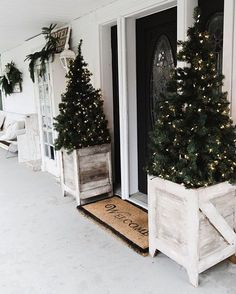 Jose built these porch boxes this past weekend & I'm kind of obsessed with them. I have other idea for them, but for now I stuck two of our porch trees in them to share them with you guys. See more photos & how @craftsmandrive made these on the blog: LizMarieBlog.Com - link in my profile. What do you think of them? Determined to also pick a new front door this week.. why is this so hard? I'll be back with more photos once I style them. #whitecottagefarm