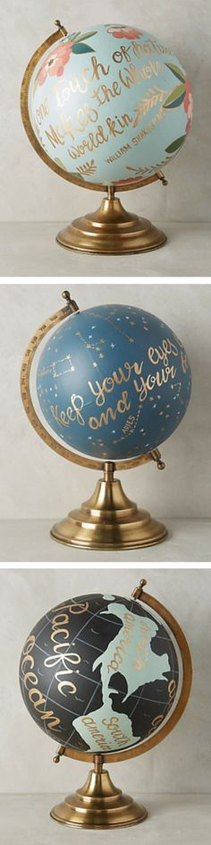 Find globes at yard sales to paint! Love this!