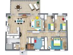 Plantas de casas pequena com três quartos