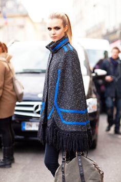 blue striped cape