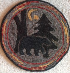 """Items similar to Rug Hooking Pattern for """"Moonlight Bear"""" Chair Pad, on Monks Cloth or Primitive Linen, on Etsy Rug Hooking Kits, Rug Hooking Patterns, Locker Hooking, Rug Patterns, Animal Patterns, Pattern Ideas, Monks Cloth, Circle Rug, Penny Rugs"""