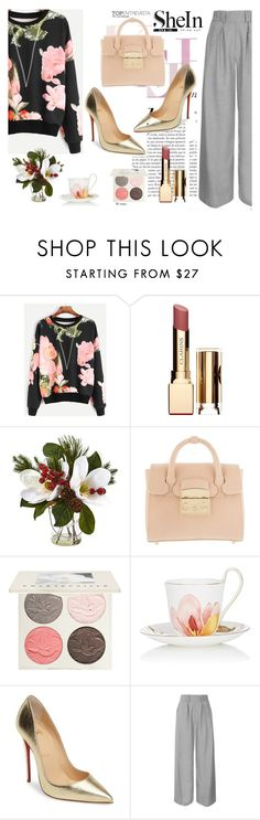"""""""#SheIn"""" by edin-levic ❤ liked on Polyvore featuring Clarins, Furla, Chantecaille, Royal Copenhagen, Christian Louboutin and Topshop"""