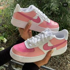 Pink Colourblock Air Force Hand painted Can also be designed using other colours Cute Nike Shoes, Cute Nikes, Nike Shoes For Women, Nike Custom Shoes, Pink Nike Shoes, Women Nike, Zapatillas Nike Air Force, Nike Vintage, Nike Shoes Air Force