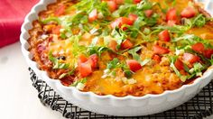 An easy Mexican dinner for under 300 calories per serving. You can even assemble it ahead of time and bake before serving!