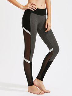 4b35835b8e591 Mesh Insert Color Block LeggingsFor Women-romwe Grey Workout Leggings, Mesh  Insert Leggings,