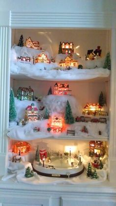 Set up your Christmas village in a white bookshelf! Christmas Time Is Here, Christmas Home, Vintage Christmas, Christmas Holidays, Christmas Crafts, Happy Holidays, Christmas Ideas, Christmas Village Display, Christmas Villages