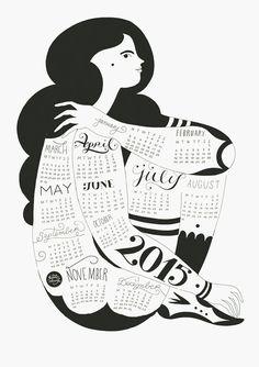 Wall Calendar 2015 by KarolinSchnoor on Etsy