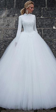 Vintage Satin High Collar Natural Waistline Ball Gown Wedding Dress With Lace Appliques #weddinggowns