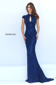 Sexy Open Back High Neck Prom Dress sherri hill 50058
